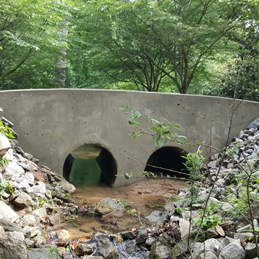Culvert wall after mildew removal