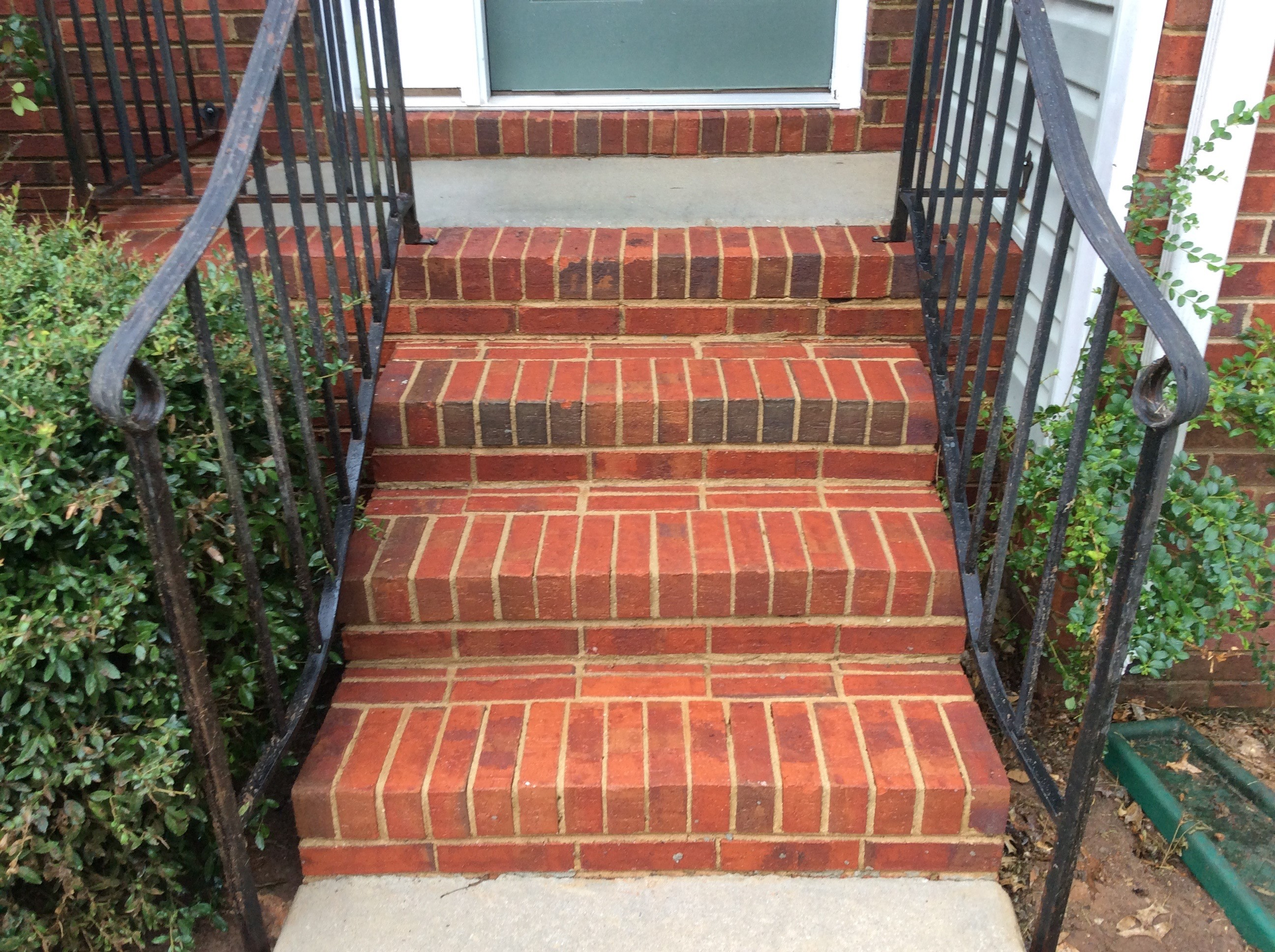 Brick steps after being pressure washed